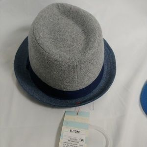 CAT & JACK GREY& BLUE 6/12M FEDORA HAT